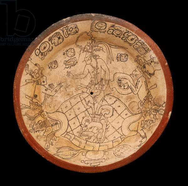 Codex-style plate, Late Classic Period (680-750 AD) (earthenware with paint)