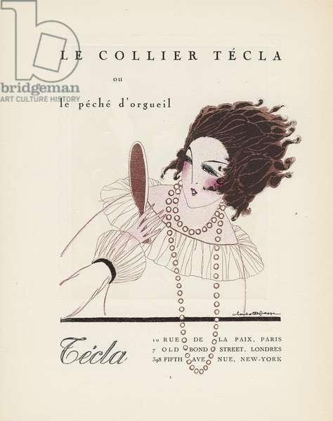 'Le Collier Tecla, ou le peche d'orgueil', advertisement from Gazette du Bon Ton, Volume 2, no.6, p.L, July 1920 (coloured etching)