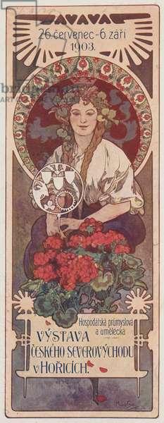 Hospodarsko prumyslova a umelecka VYSTAVA CESKEHO SEVEROVÝCHODU v HORICICH (colour litho)