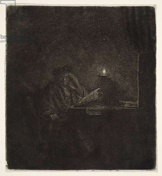 Student at a Table by Candlelight, c.1642 (etching)