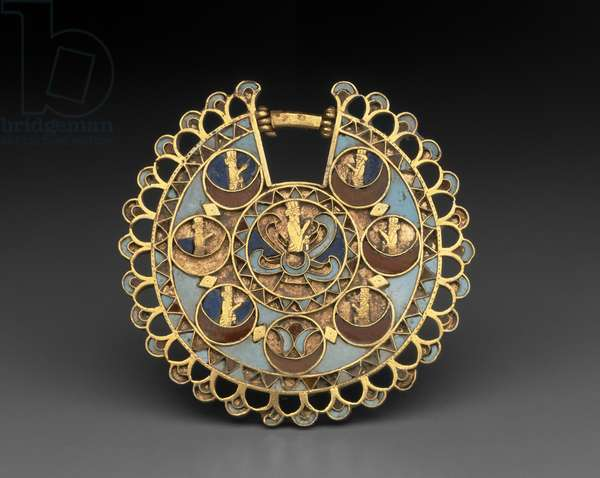 Earring, Persian (c.525-330 BC) (gold with inlays of turquoise, carnelian, and lapis lazuli)