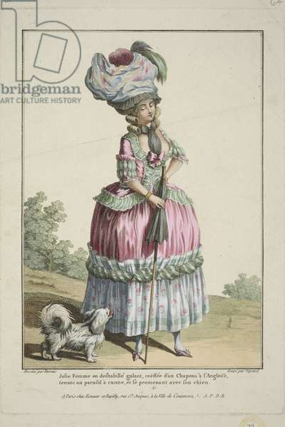 Pretty Woman in a Deshabille, from 'Gallerie des Modes et Costumes Francais', engraved by Nicolas Dupin, published by Esnauts et Rapilly, Paris, 1778 (hand-coloured engraving)
