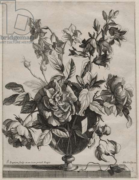 Arrangement of Roses, Jonquils, and Campanula in a Glass Vase, c.1660-80 (etching & engraving)