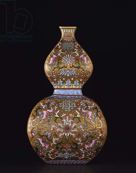Square double gourd-shaped vase, Qianlong period (1736-95) (porcelain)