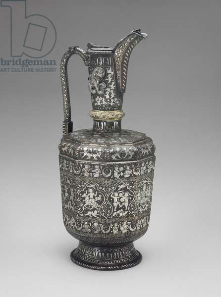 Ewer, Ilkhanid, from Western Iran, c.1220-30 (beaten brass inlaid with silver)