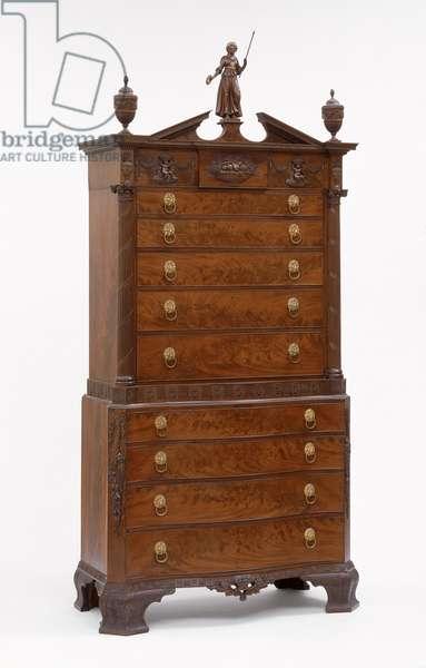 Chest-on-chest, 1806-–09 (mahogany, mahogany veneer, ebony & satinwood inlay and pine)