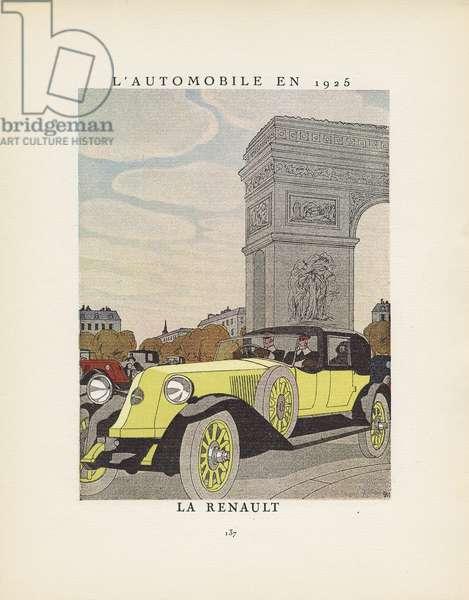 'L'Automobile en 1925: Le Renault', advertisement from Gazette du Bon Ton, no.3, p.137, 1924-25 (colour litho)