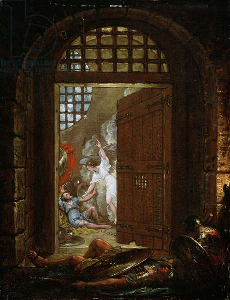 St. Peter Released from Prison, 1800 (oil on paper mounted on wood panel)