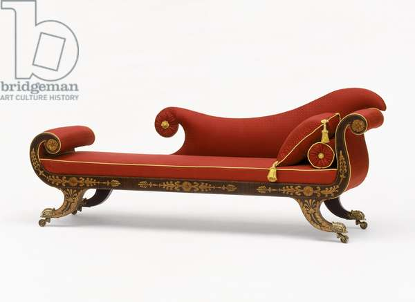 Grecian couch, c.1820 (yellow poplar, cherry & white pine with rosewood graining, gilded painting and textile)