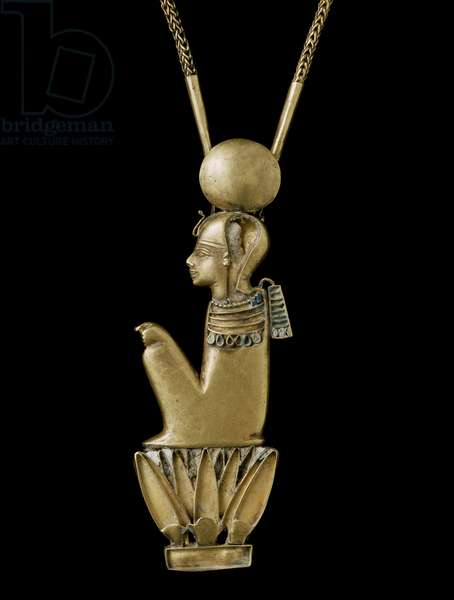 Pendant on a chain, 21st-24th Dynasty (gold with glass inlays)