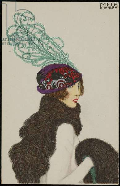 Purple and red hat with green plume, c.1910 (colour litho)