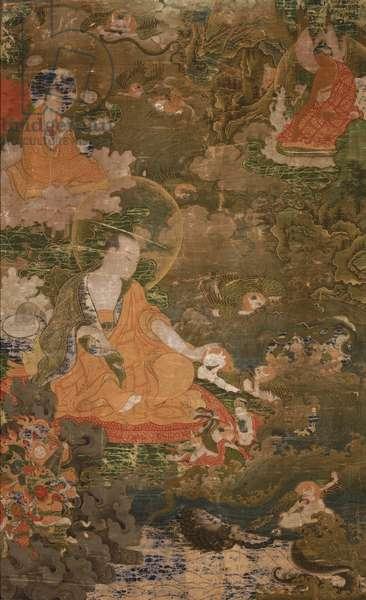 Suhuki Preaching to the Nagas and Garudas (opaque w/c on cotton)