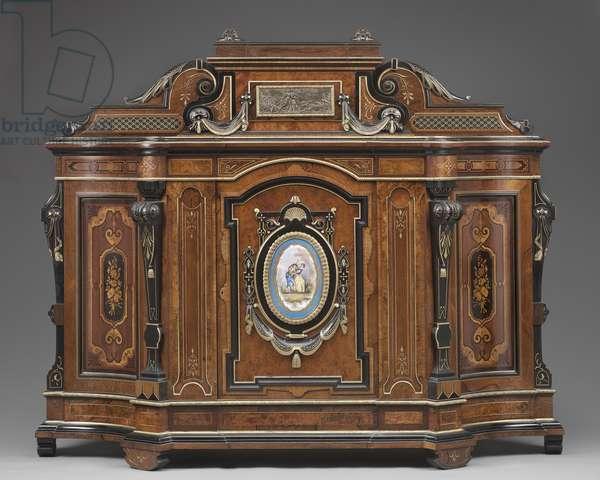 Cabinet (wood, porcelain & metallic plates)