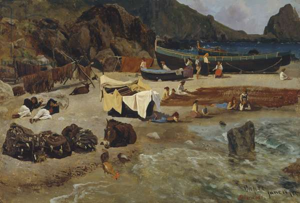 Fishing Boats at Capri, 1857 (oil on paper on canvas)