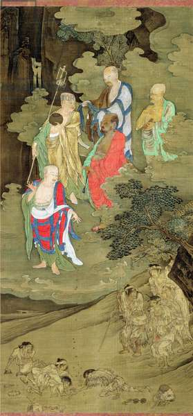 Lohans Bestowing Alms on Suffering Human Beings, Southern Song dynasty, China, c.1178 (ink & colour on silk)