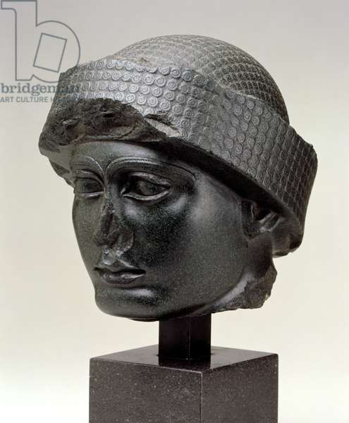 Head of Gudea, Sumer, probably Tella, Near Eastern, Sumerian, Neo-Sumerian Period, reign of Gudea, 2144-2124 BC (diorite)
