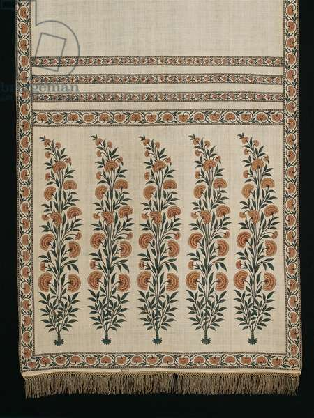Man's court sash, c.1700 (cotton plain weave, block-printed, hand-painted & mordant and resist-dyed, with metal-wrapped thread fringe)