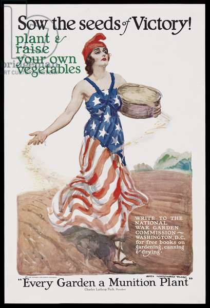 Sow the Seeds of Victory! - Plant & Raise Your Own Vegetables - Every Garden a Munition Plant, 1918 (colour litho)