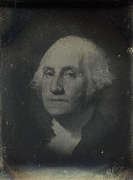 Painted portrait of George Washington (1732-99) by Gilbert Stuart (1755-1828) 1850-60 (daguerreotype)