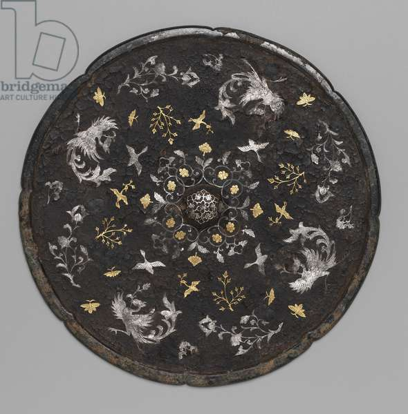 Circular Mirror (bronze with applied gold & silver)