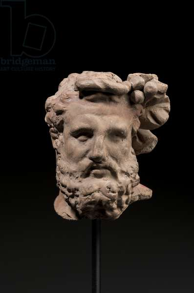Head of Herakles figurine (terracotta)