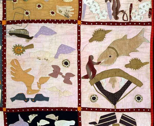Pictorial Quilt, 1895-98 (detail) (pieced, appliqued & printed cotton embroidered with plain and metallic yarns)