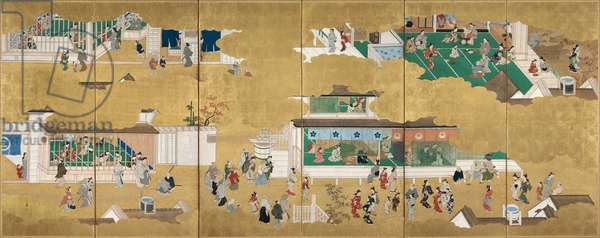 Scenes from the Yoshiwara Pleasure Quarter (ink & colour on gold-leafed paper)
