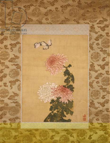 Two Butterflies above Chrysanthemums, Qing Dynasty, c.1760 (ink & colours on silk)