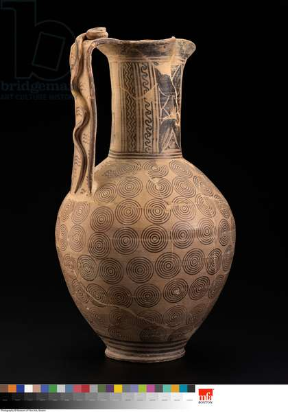 Pitcher (oinochoe) with snake on handle, Late Geometric Period, 700-690 BC (ceramic)