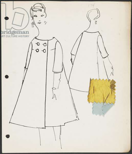 Page from sketchbook, Fall 1958 Part 1, 1958 (pen & ink on paper with fabric)