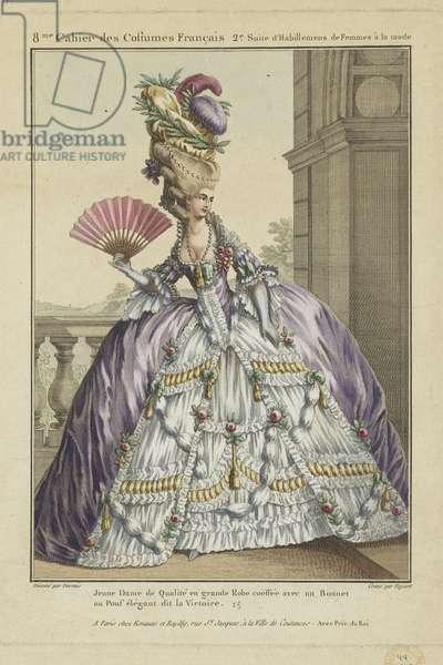 Young Lady of Quality, from 'Gallerie des Modes et Costumes Francais, 8e Cahier des Costumes Francaises, 2e Suite d'Habillemens de Femmes a la mode', engraved by Etienne Claude Voysard, published by Esnauts et Rapilly, Paris, 1778 (hand-coloured engraving)