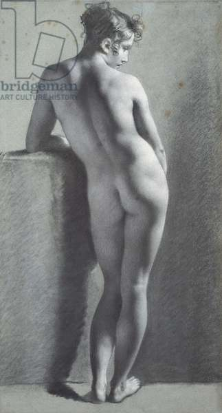 Standing Female Nude, Seen from Behind, 1785-90 (charcoal heightened with white chalk on paper)