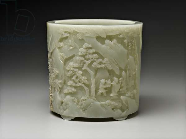 Brush pot with decoration of Shoulao and figures in landscape, 18th century (white jade)
