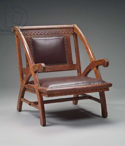 Armchair for the Woburn Pubilc Library, 1878 (oak & leather)