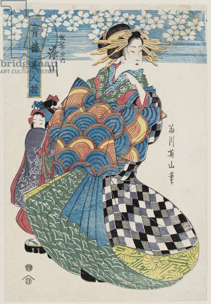 Somekawa of the Matsubaya, from the series Collection of Beauties of the Yoshiwara (Seirô bijin zoroe), c.1814-17 (colour woodblock print)