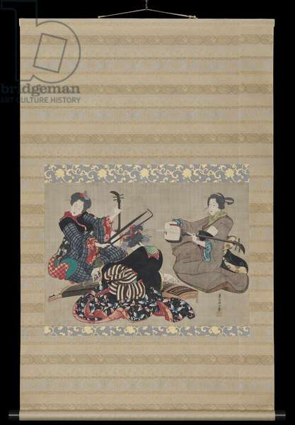 Three Women Playing Musical Instruments, c.1818-44 (colour woodblock print)