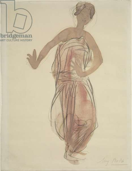 Cambodian Dancer, 1906 (graphite pencil, crayon & w/c on paper)