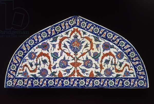 Iznik Tile panel, Ottoman period, c.1573 (composite body with colours painted on white slip)