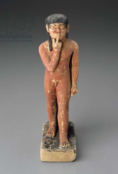 Statuette of Ptahneferti as a young boy, Old Kingdom, Dynasty 5, 2465-–2323 B.C. (painted limestone)