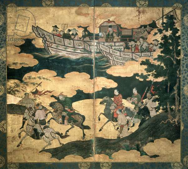 Tartar Envoys Arriving in Ships, Their Advance Party Ashore, Momoyama Period, latter half of 16th century, Japan (ink & colour on gold-leafed paper)