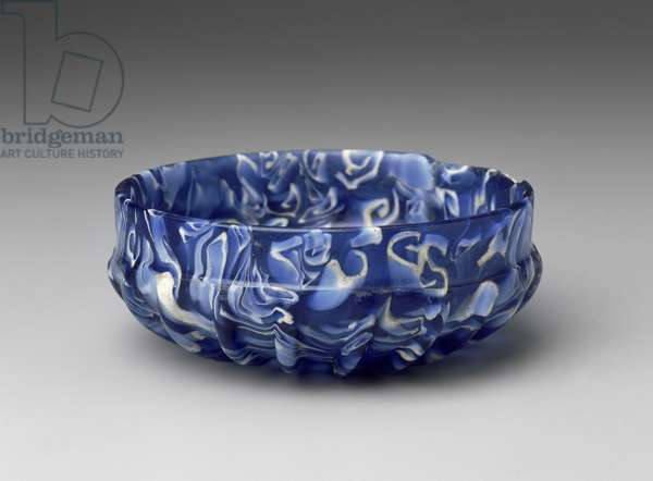 Ribbed Bowl, Early Imperial Period, late 1st century BC-1st century AD (mosaic glass)