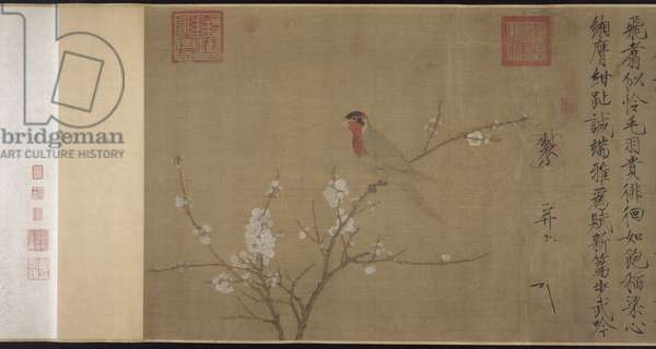 Five-coloured Parakeet on a Blossoming Apricot Tree, Northern Song Dynasty, c.1110 (ink & colour on silk) (detail of 263786)