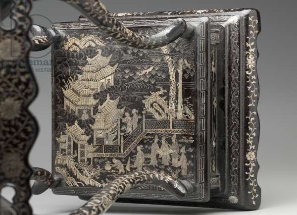 Two-tiered stand, early 16th century (hardwood, lacquer & mother of pearl inlay)