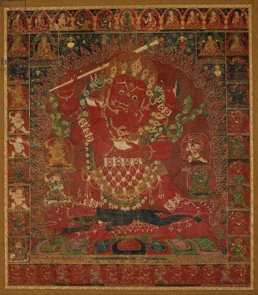 Red Form of the Protective Guardian Yamantaka in Yab-Yum Position with Svabha-Prajna, probably Tsang, from Central Tibet (opaque w/c on cotton)