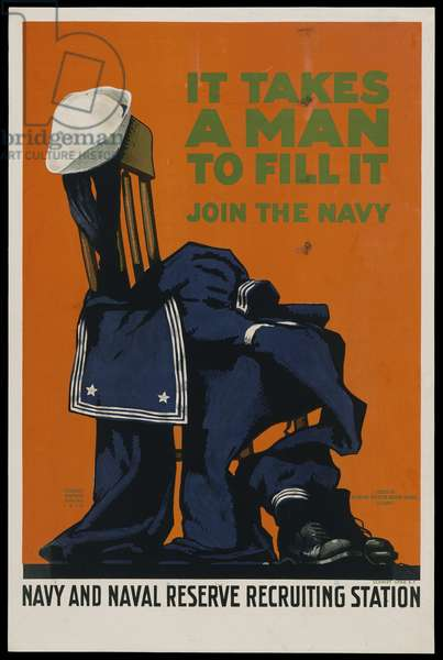 It Takes A Man To Fill It - Join The Navy, 1918 (colour litho)