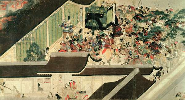 Night Attack on the Sanjo Palace, from the Illustrated Scrolls of the Events of Heiji Era (Heiji monogatari emaki) Kamakuru period, Japan, 2nd half of 13th century (detail) (ink & colour on paper)