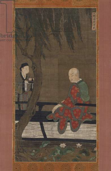 The Fourteenth Lohan Vanavasi watching ducks in Lotus Pond, Southern Song Dynasty (ink, colour & gold on silk)