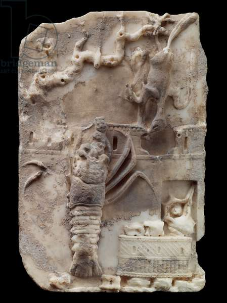 Landscape relief with still-life scene of temple, lobster, murex shell, Imperial Period (marble)