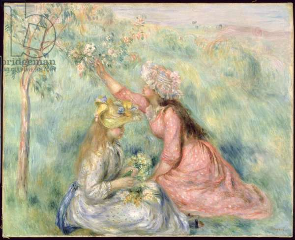 Girls Picking Flowers in a Meadow, c.1890 (oil on canvas)