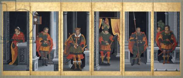 European King and Members of His Court, 1604-14 (ink, colour & gold on paper)